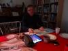 Hjemmelavet Juleby - Martin arbejder på husene, Lübech Julemarked er fundet frem på Samsung Tablet\'en